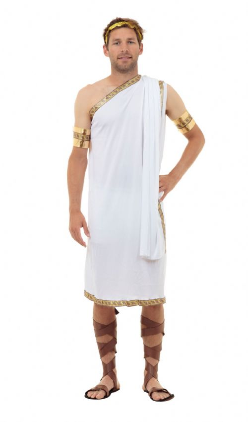 Mens Caesar Costume Roman King Ancient Leader Fancy Dress Outfit